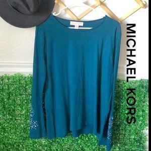 Michael Kohr's beaded sleeve blouse top